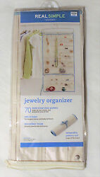 70 Multi-size Pocket Hanging Jewelry Organizer with Hanger REAL SIMPLE New
