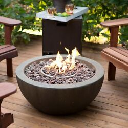 Outdoor Propane Fire Pit Bowl Gas Burner Stone Fireplace Patio Heater Tank Cover
