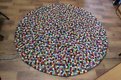 150cm sheep wool Arts & CraftsMissionNC-101 Round Multi-Colored Felt Ball Rug