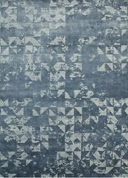 13.2x19.8 Rectangle Area Rug Modern Wool and Art Silk Hand-Knotted Skyline Blue