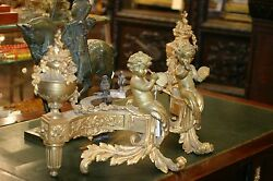 ANTIQUE LXV FRENCH GILDED BRONZE PAIR OF PALACE FIREPLACE CHE NETS CHERUBS19 c