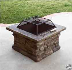 Fire Pits Outdoor with Natural Stone and Wood Burning BBQ Patio Furniture Center