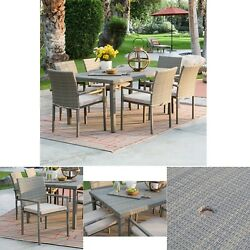 Outdoor Dining Set 7pc Rectangle Wicker Garden Patio Furniture Steel All Weather
