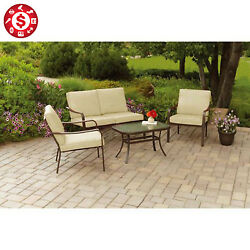 4PCS OUTDOOR SET Garden Lawn Loveseat Sofa Table Chair Cushioned Patio Furniture