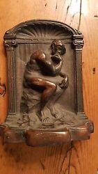 Antique Art Deco BronzeCopper Bookend The Nude Thinker