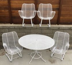Russell Woodard Sculptura Spring Rocking Wire Mesh Patio Dining Set 4 chairs