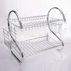 Kitchen Dish Cup Drying Rack Holder Sink Drainer 2 Tier Dryer Stainless Steel $19.49