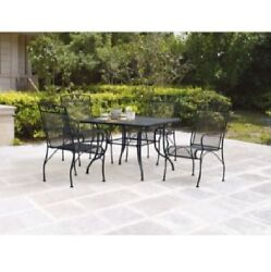 Wrought Iron Patio Furniture 5 PC Set Stackable Chairs Wide Seats Square Table