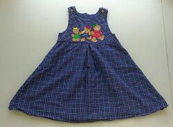 Vintage Teddy Bear Buttons Embroidered  Dress Jumper Girls 6X Back to School