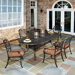 Patio Dining Set Outdoor Furniture Metal Table Cushion Chairs Porch Deck Pool 7