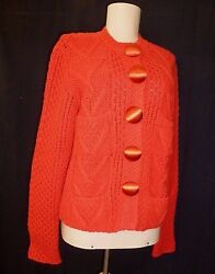Sweater Lanvin NWOT Cashmere Bright Red Cardigan Lge Satin Buttons M