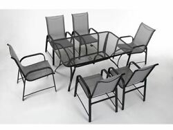 Patio Furniture Slings 7 PC Set Sling Chairs Glass Table Top Deck Pool Side Gray