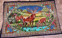 WILDLIFE DEER FABRIC TAPESTRY OUTDOOR MEADOW POND WALL HANGING RUG CARPET THROW