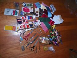 Large Lot Sewing and Embroidery Supplies Floss Scissors Needles and Much More