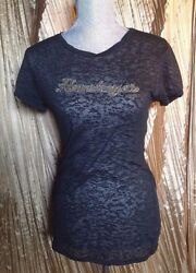 College Couture Women#x27;s T Shirts Tops Black w Sparkly Embellishment Size L
