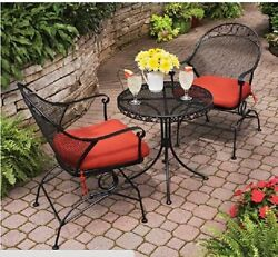 Patio Dining Bistro Set Chairs Outdoor Garden Wrought Iron Red Table Furniture