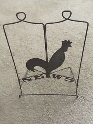 Chase Copper & Brass Rooster Newspaper Rack Art Deco Vintage 1930's