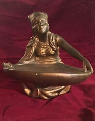 Antique Art Deco Lady Sitting Valet Card Receiver Copper Bronze Clad Rare