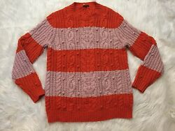 J Crew Collection Italian Cashmere Cable Stripe Pom Sweater Womens Sz S