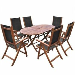 Patio Dining Set Outdoor Garden Folding Chairs Yard Oval Table Acacia Wood 7pcs