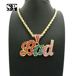 ICED CELEBRITY STYLE #x27;BAD#x27; PENDANT amp; 5mm 20quot; ROPE CHAIN HIP HOP FASHION NECKLACE