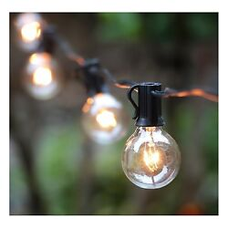 Outdoor String Lights Patio RV Deck Party Tent Bbq Globe Bulbs 100 Ft String