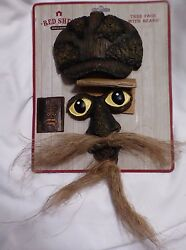 Red Shed Outdoor Whimsical Tree Man Face Hat Mustache and Beard Yard Decor Art