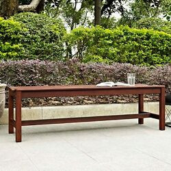 Backless Outdoor Bench Wooden Garden Patio Front Porch Wood Backyard 5ft Seating