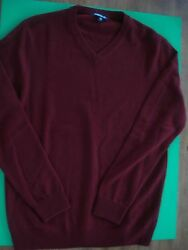 JACK THREADS 100% CASHMERE SWEATER V-NECK MAROON ITALY M NEW
