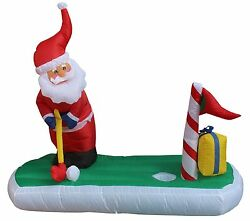 5 Foot Long Christmas Inflatable Santa Claus Play Golf Yard Outdoor Decoration