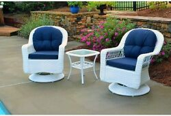 Wicker Patio Furniture Swivel Glider Chairs Cushions Table 3-Piece Bistro Set