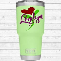Heart Monogram Vinyl Decal for Your Tumbler Cup Colster Personalized Name Flower