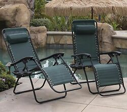 Zero Gravity Chaise Lounge Chair Recliner Outdoor Patio Folding Cushion Set Of 2