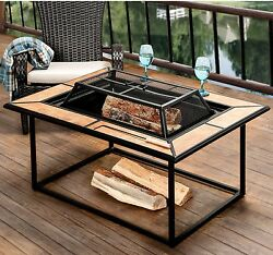 Outdoor Fire Pit Table Wood Burning Fireplace Mosaic Top Cast Iron Patio Heater