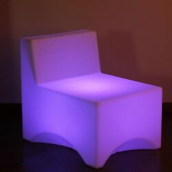 Set of 2 LED Lighted Color Changing Outdoor Patio Lounge Chairs with Remote