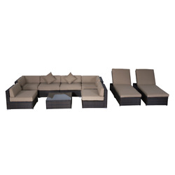 Outdoor Patio Furniture 9pc Sectional Sofa Set Wicker Table Sun Lounger Cushions
