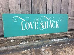 Rustic Wood Sign - Love Shack - Hand-Painted - She Shed Decor