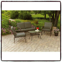 Conversation Set Patio Furniture Cushioned 4-Piece Seater Lawn Outdoor Loveseat