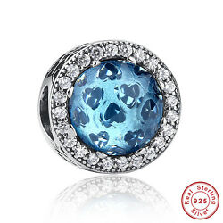 Solid 925 Silver Sterling Sky-Blue Crystal & Clear CZ Radiant Hearts Charm Beads