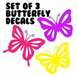 Brand New Set Of 3 Butterflies For Car Window Wall Girls Room Laptop B8946 $2.99