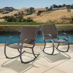 Patio Chairs Outdoor Rocking Chair Set 2 Wicker Porch Yard Garden Seat Deck Home