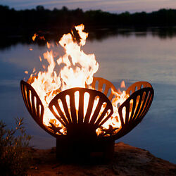Iron Oxide Patina Steel 36-in W x 22-in H Carbon Steel Wood-Burning Fire Pit