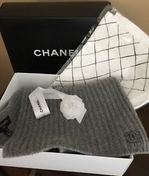 100% Authentic CHANEL Scottish Cashmere Scarf NIB Gray With Lurex Thread