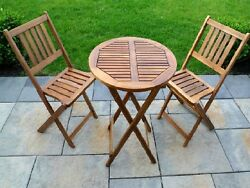 Patio Folding Bistro Set 3pc Acacia Wood Table Chair Seat Garden Porch Furniture