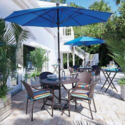 Brown Resin Wicker 5 Piece Outdoor Dining Set Table Chairs Patio Furniture