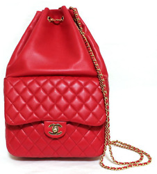 CHANEL Red Classic Lambskin Backpack Rucksack CC Chain Shoulder Bag Never Used