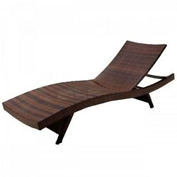 Wicker Patio Lounge Chair Outdoor Pool Yard Lawn Folding Relax Adjustable Chair