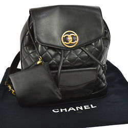 Authentic CHANEL Quilted CC Chain Backpack Bag Black Leather Vintage GHW JT03838