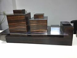 Christofle art deco cigarette box ashtray necessaire macassar ebony chrome metal