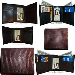 Lot of 6 Italian Style Lizard skin Printed Leather Man's Brown Trifold wallet BN